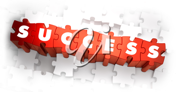 Success - Text on Red Puzzles with White Background. 3D Render.