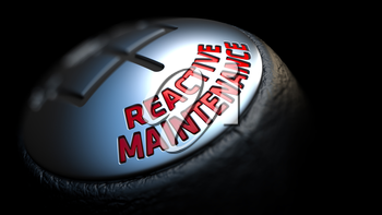 reactive maintenance - Red Text on Car's Shift Knob on Black Background. Close Up View. Selective Focus.