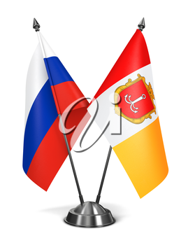 Russia and Luhansk People's Republic - Miniature Flags Isolated on White Background.