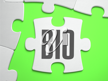 BIO - Text on Puzzle on the Place of Missing Pieces. Bright Green Background. Closeup. 3d Illustration.