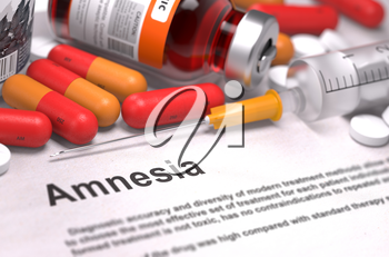 Diagnosis - Amnesia. Medical Report with Composition of Medicaments - Red Pills, Injections and Syringe. Selective Focus.