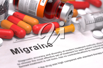 Diagnosis - Migraine. Medical Concept with Red Pills, Injections and Syringe. Selective Focus. 3D Render.