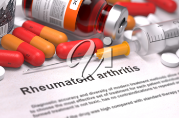 Rheumatoid Arthritis - Printed Diagnosis with Red Pills, Injections and Syringe. Medical Concept with Selective Focus.