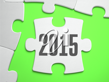 2015 - Jigsaw Puzzle with Missing Pieces. Bright Green Background. Close-up. 3d Illustration.