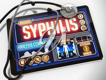 Syphilis - Diagnosis on the Display of Medical Tablet and a Black Stethoscope on White Background.