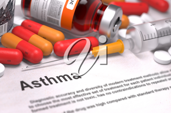 Diagnosis - Asthma. Medical Concept with Red Pills, Injections and Syringe. Selective Focus. 3D Render.