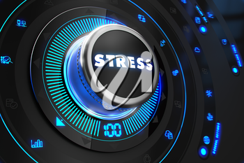 Stress Button with Glowing Blue Lights on Black Console. Controller on Black Control Console with Blue Backlight. Control or Management Concept.
