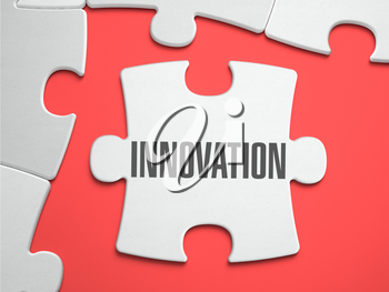 Innovation - Text on Puzzle on the Place of Missing Pieces. Scarlett Background. Close-up. 3d Illustration.
