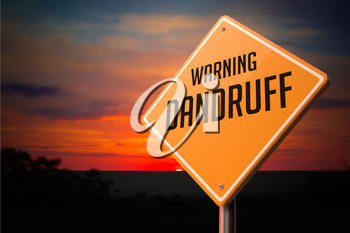 Dandruff on Warning Road Sign on Sunset Sky Background.
