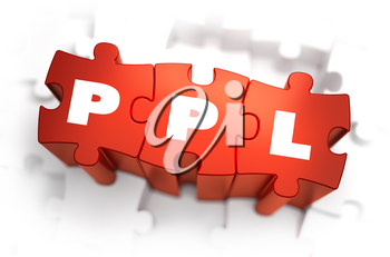 PPL - Pay Per Lead - White Word on Red Puzzles on White Background. 3D Render.