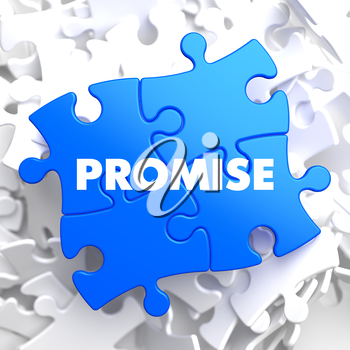 Promise on Blue Puzzle on White Background.