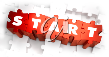 Start - Text on Red Puzzles with White Background. 3D Render.