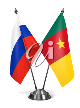 Russia and Cameroon - Miniature Flags Isolated on White Background.