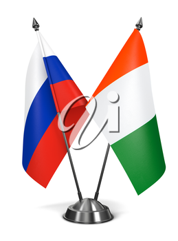 Russia and  Ivory Coast - Miniature Flags Isolated on White Background.