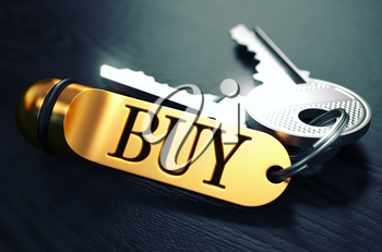 BUY Concept. Keys with Golden Keyring on Black Wooden Table. Closeup View, Selective Focus, 3D Render. Toned Image.