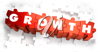 Growth - Text on Red Puzzles with White Background. 3D Render.