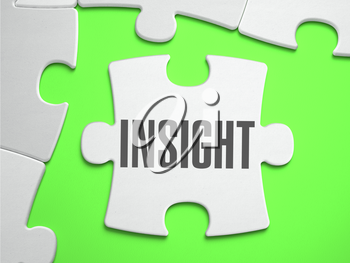 Insight - Jigsaw Puzzle with Missing Pieces. Bright Green Background. Close-up. 3d Illustration.