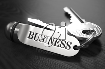 Business Concept. Keys with Keyring on Black Wooden Table. Closeup View, Selective Focus, 3D Render. Black and White Image.