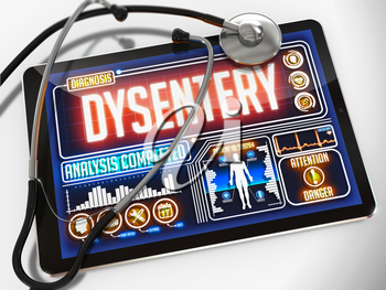 Dysentery - Diagnosis on the Display of Medical Tablet and a Black Stethoscope on White Background.