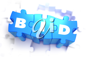 Bid - White Word on Blue Puzzles on White Background. 3D Illustration.