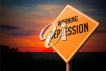 Depression on Warning Road Sign on Sunset Sky Background.