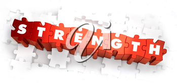 Strength - Text on Red Puzzles with White Background. 3D Render.