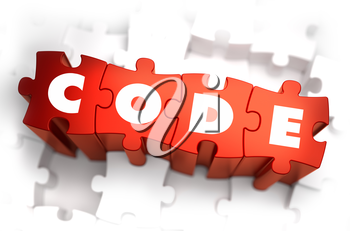 Code - White Word on Red Puzzles on White Background. 3D Illustration.
