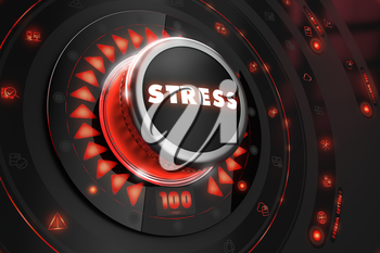 Stress Controller on Black Control Console with Red Backlight. Danger or Risk Control Concept.
