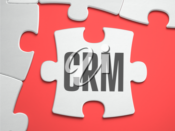 CRM - Customer Relationship Management - Text on Puzzle on the Place of Missing Pieces. Scarlett Background. Close-up. 3d Illustration.