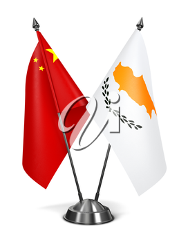 China and Cyprus - Miniature Flags Isolated on White Background.
