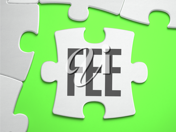 Fee - Jigsaw Puzzle with Missing Pieces. Bright Green Background. Close-up. 3d Illustration.