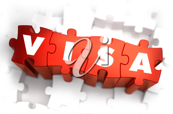 Visa - White Word on Red Puzzles on White Background. 3D Illustration.