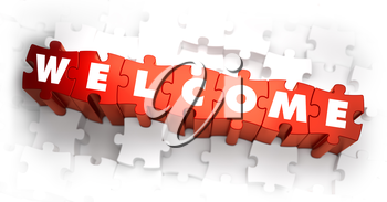 Welcome - White Word on Red Puzzles on White Background. 3D Illustration.