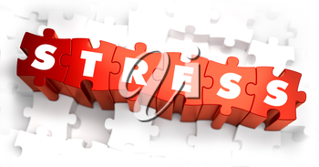 Stress - Text on Red Puzzles with White Background. 3D Render.