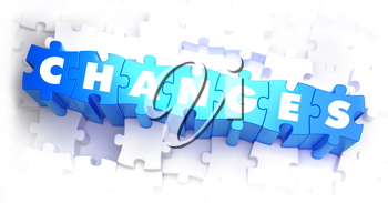 Changes - White Word on Blue Puzzles on White Background. 3D Illustration.