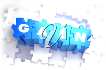 Gain - White Word on Blue Puzzles on White Background. 3D Illustration.