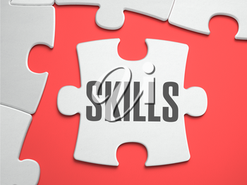 Skills - Text on Puzzle on the Place of Missing Pieces. Scarlett Background. Close-up. 3d Illustration.