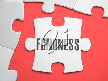 Fondness - Text on Puzzle on the Place of Missing Pieces. Scarlett Background. Close-up. 3d Illustration.