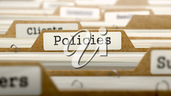 Policies Concept. Word on Folder Register of Card Index. Selective Focus.