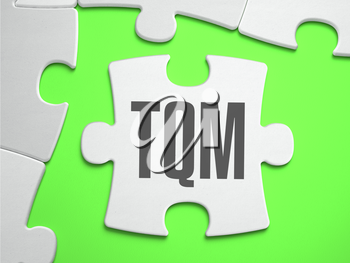 TQM - Total Quality Management - Jigsaw Puzzle with Missing Pieces. Bright Green Background. Close-up. 3d Illustration.