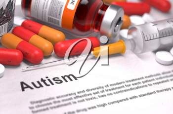 Autism - Printed Diagnosis with Red Pills, Injections and Syringe. Medical Concept with Selective Focus.