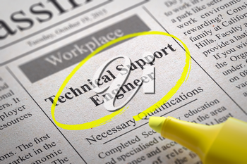 Technical Support Engineer Vacancy in Newspaper. Job Search Concept.