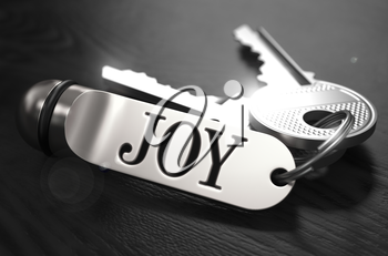 JOYConcept. Keys with Keyring on Black Wooden Table. Closeup View, Selective Focus, 3D Render. Black and White Image.