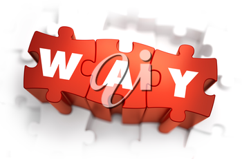 Way - White Word on Red Puzzles on White Background. 3D Illustration.