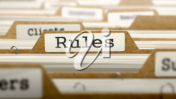 Rules Concept. Word on Folder Register of Card Index. Selective Focus.