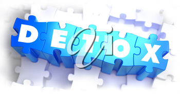 Detox -White Word on Blue Puzzles on White Background. 3D Illustration.