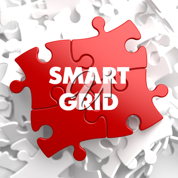 Smart Grid on Red Puzzle on White Background.