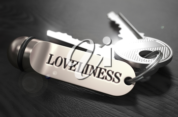 Loveliness Concept. Keys with Keyring on Black Wooden Table. Closeup View, Selective Focus, 3D Render. Black and White Image.
