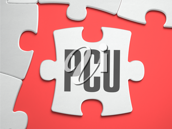 PCU - Peak Concurrent User - Text on Puzzle on the Place of Missing Pieces. Scarlett Background. Close-up. 3d Illustration.