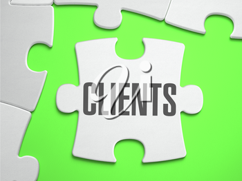 Clients - Jigsaw Puzzle with Missing Pieces. Bright Green Background. Close-up. 3d Illustration.